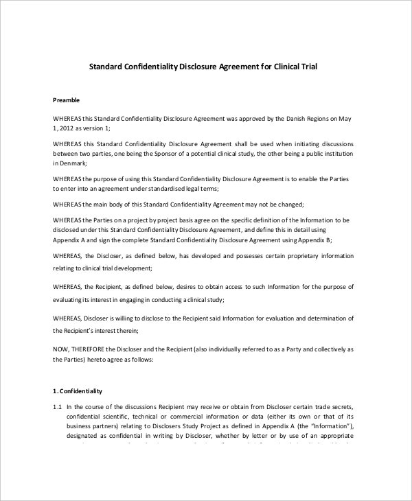 8  standard confidentiality agreement templates  u2013 free sample  example format download