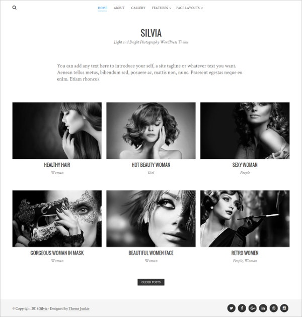 Unique Free Photography WordPress Theme
