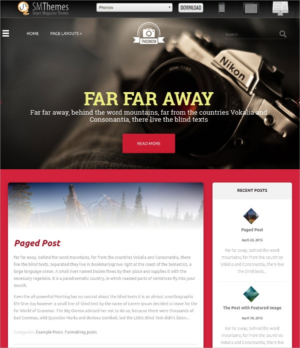 Free Premium Photography WordPress Theme