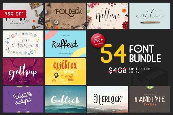Font & Graphic Bundle 95% Off in Creative Market
