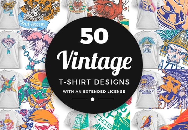 96% OFF on 50 Vintage T-shirt Designs at Inkydeals