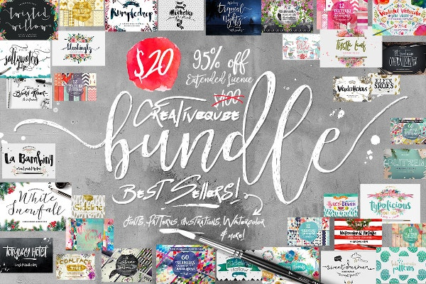 Bundle of Fonts and Graphics 95% Off at Creative Market