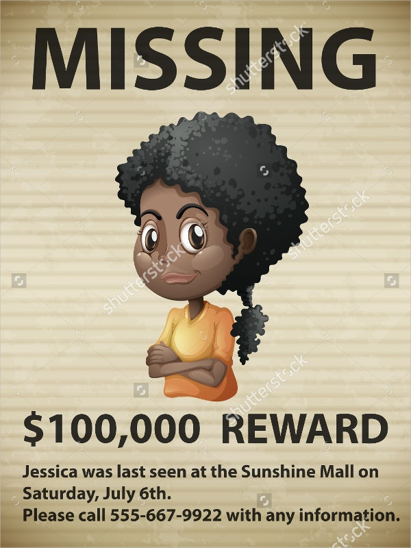 Marvelous Missing Person Poster  Missing Posters Template