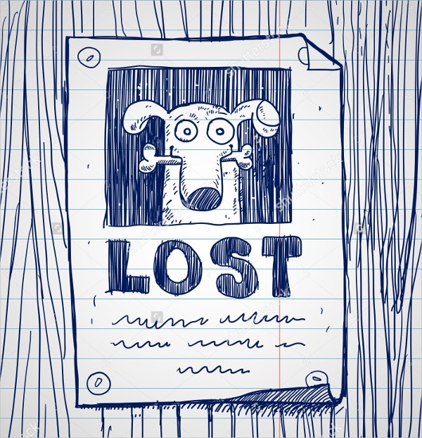 Hand Drawn Missing Dog Poster  Lost Dog Poster Template
