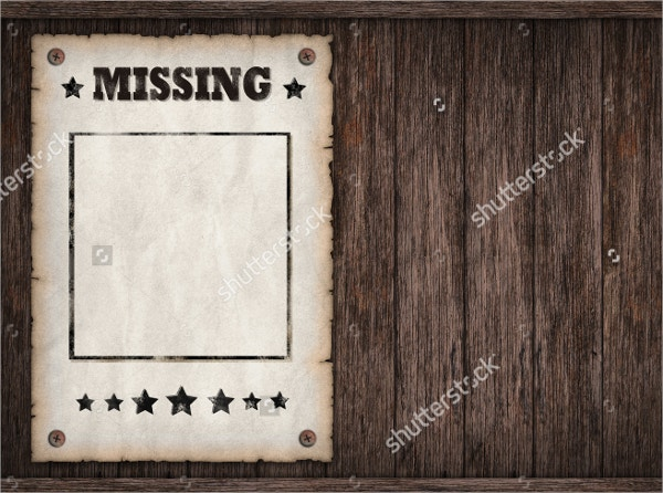 missing poster on wooden wall