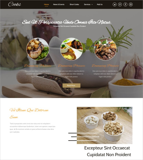 Free Taste Food Hotel WordPress Template