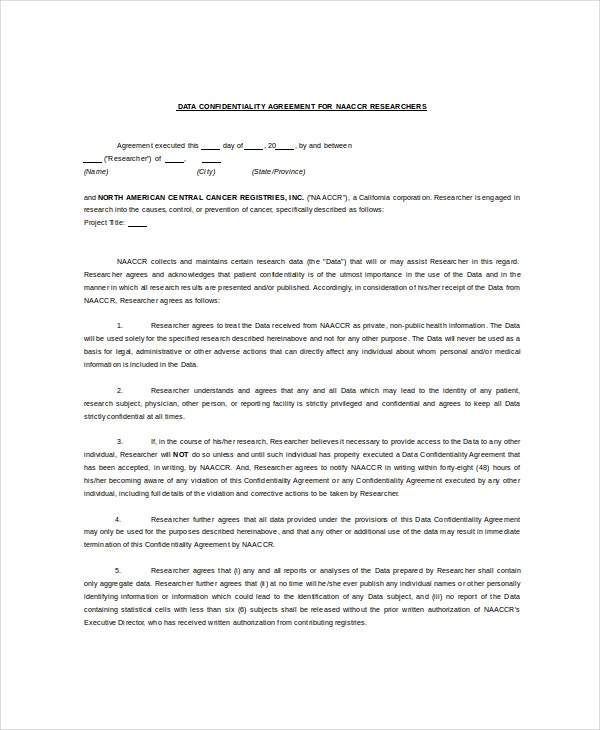 8+ Understanding Confidentiality Agreement Templates – Free Sample