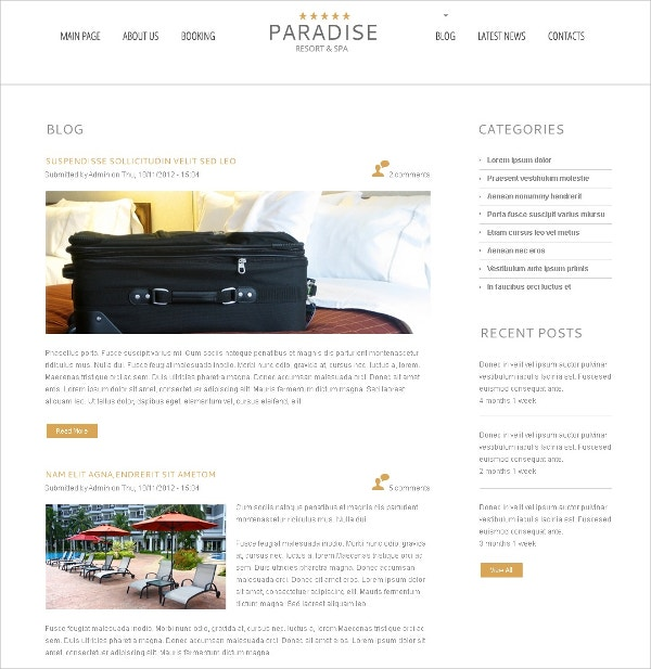 Free WordPress Theme For Paradise Hotel