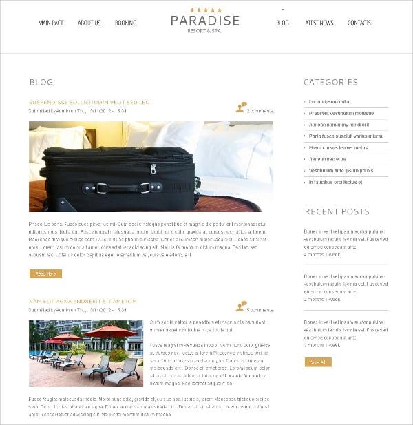 free wordpress theme for paradise hotel