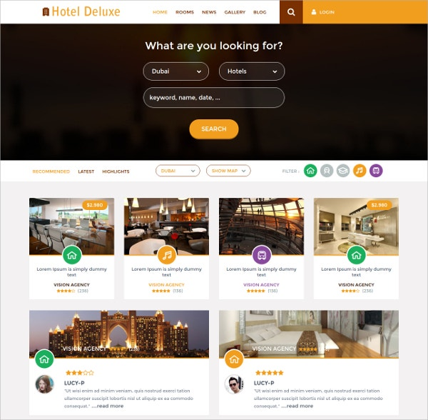 14 free hotels restaurants wordpress themes templates free deluxe hotel free wordpress template pronofoot35fo Images