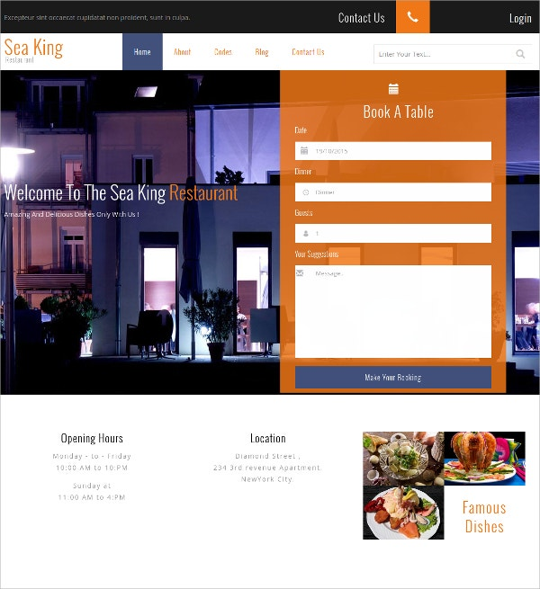 Free Sea King Restaurant, Hotel WordPress Template