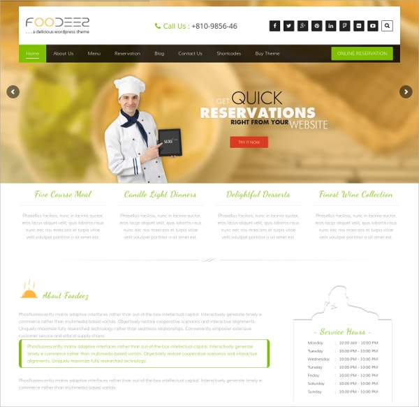 Restaurant Food Business Free Responsive WordPress Theme