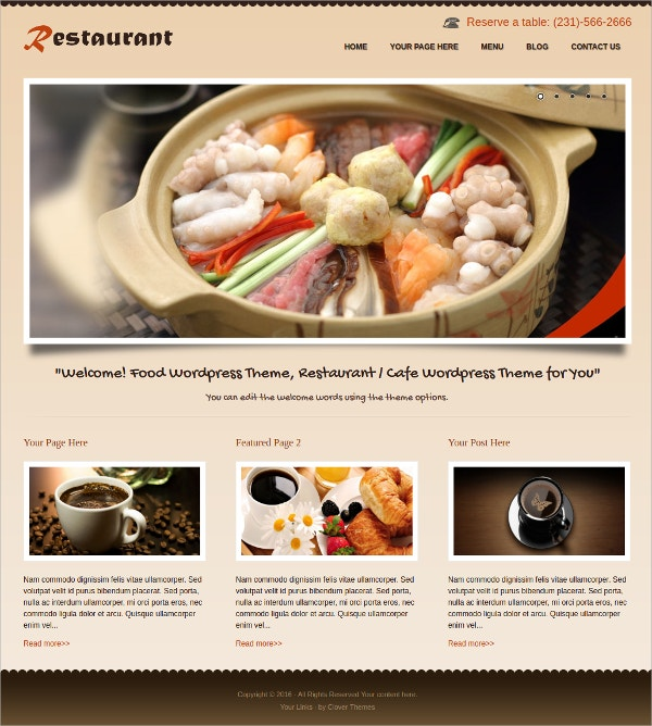Food & Drink Restaurant Free Responsive WordPress Theme