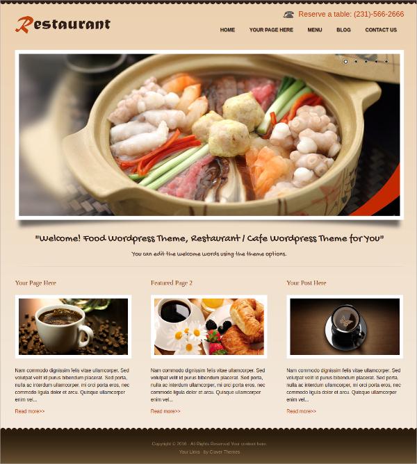 food drink restaurant free responsive wordpress theme