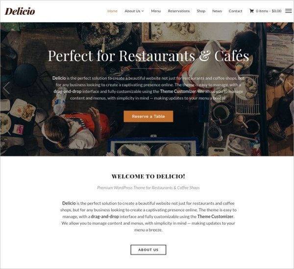 Delicious Food Restaurant & Hotel Free Responsive WordPress Theme