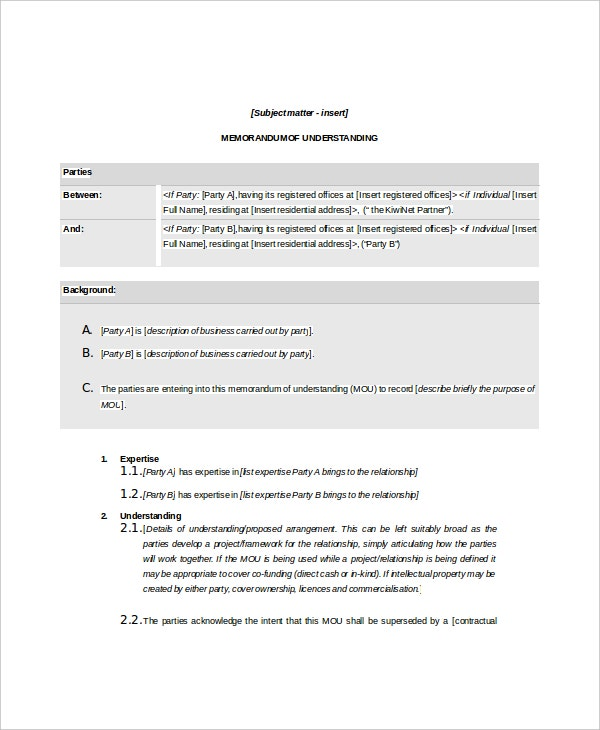 Sample Memorandum Of Agreements Loan Memo Template