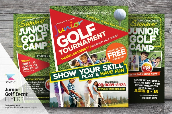 kids training golf flyer