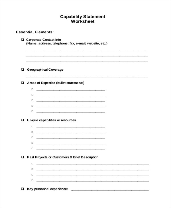 Capability Statement Worksheet Template