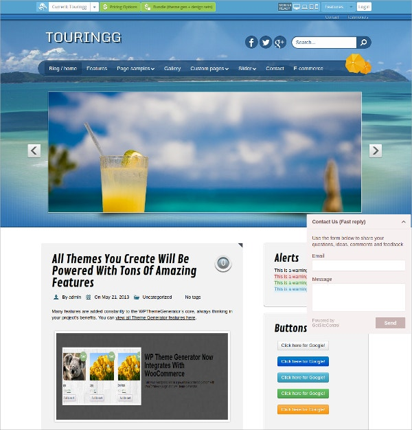 premium tourism travel free wordpress theme