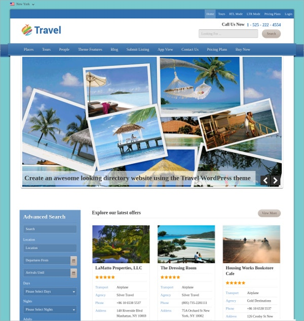 summer vacation travel free wordpress theme