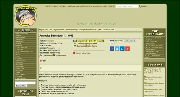 Auslogics Benchtown Performance Testing Tool