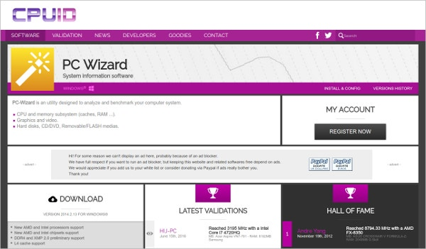 PC Wizard System Information Software