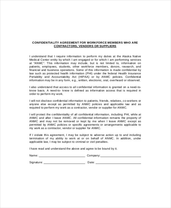 suppliers%e2%80%99 vendor confidentiality agreement example