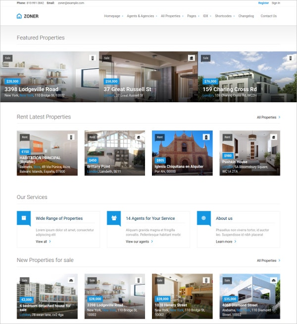 free real estate wordpress theme