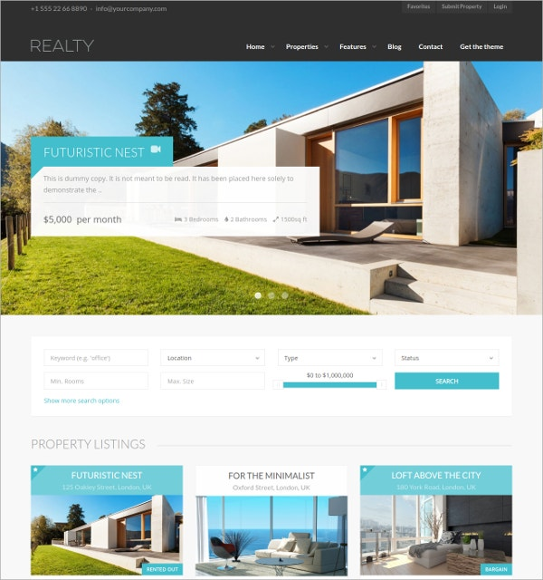 free responsive real estate wordpress theme