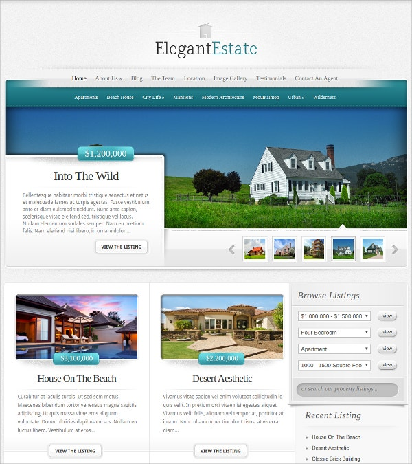 free elegant real estate wordpress theme