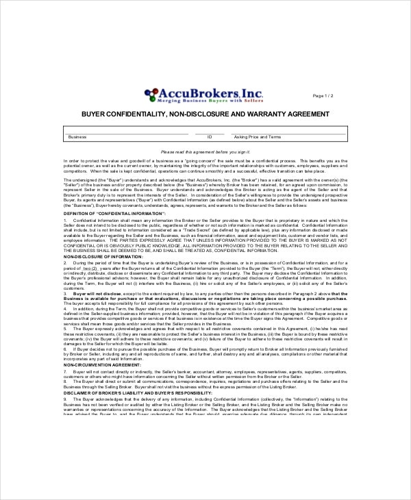 buyers%e2%80%99 vendor confidentiality agreement sample