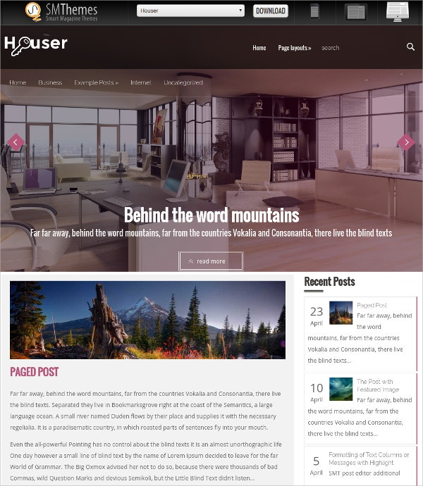free creative blog real estate wordpress theme