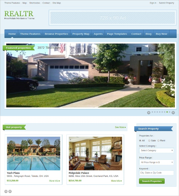 free real estate property wordpress theme