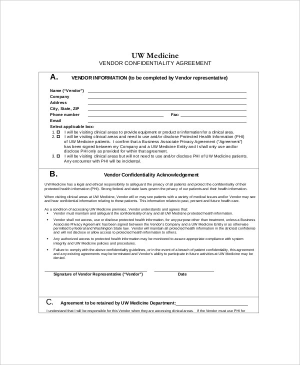 10 Vendor Confidentiality Agreement Templates Free Sample – Sample Confidentiality Agreement
