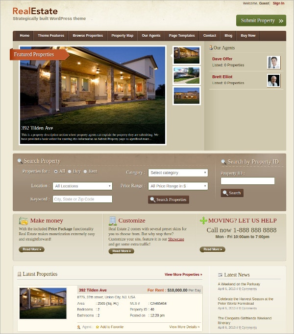 free modern real estate wordpress theme