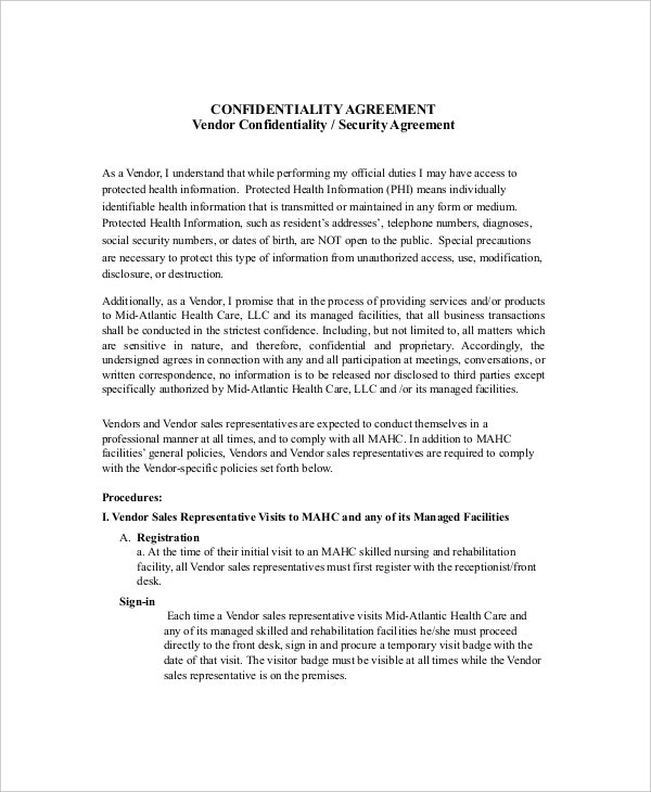 Beautiful Vendor Security Confidentiality Agreement Sample