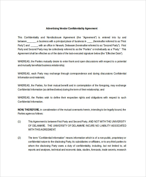 Vendor Confidentiality Agreement Templates  Free Sample