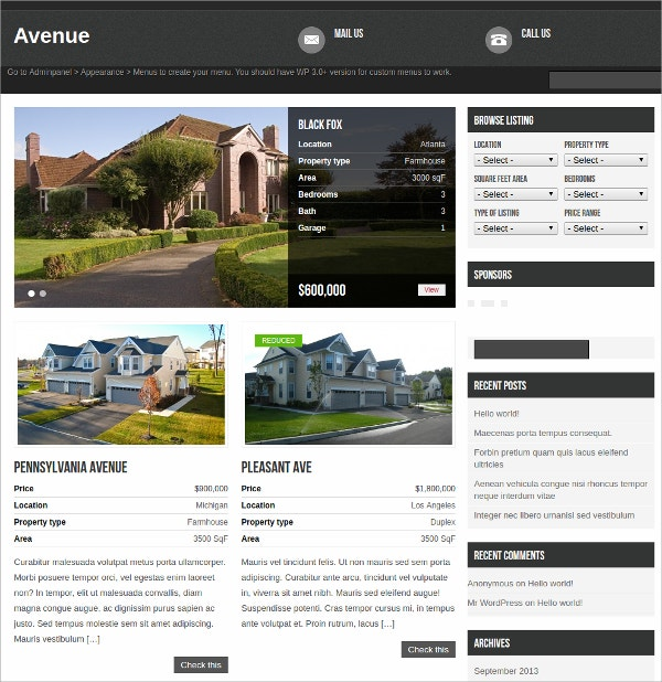 free powerful real estate wordpress theme