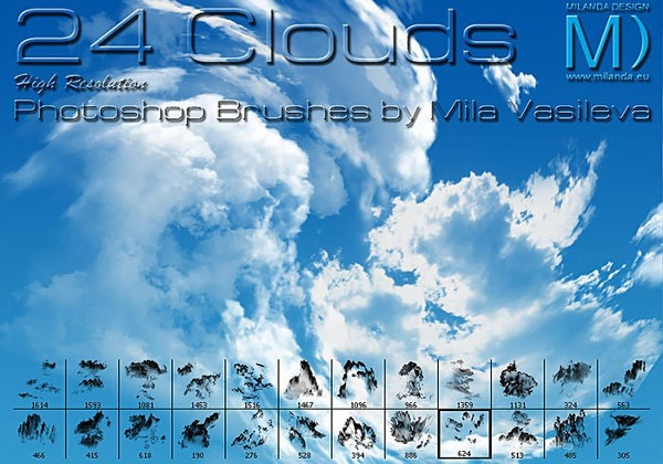 24 High Resolution Cloud Brushes