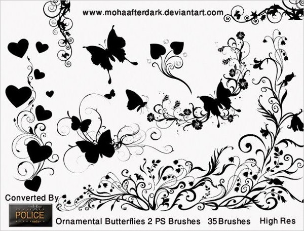 Ornamental Butterflies Brushes