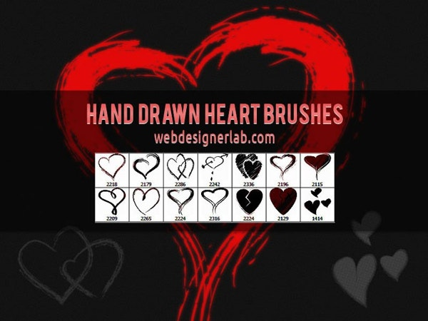 Hand Drawn Heart Photoshop Brush