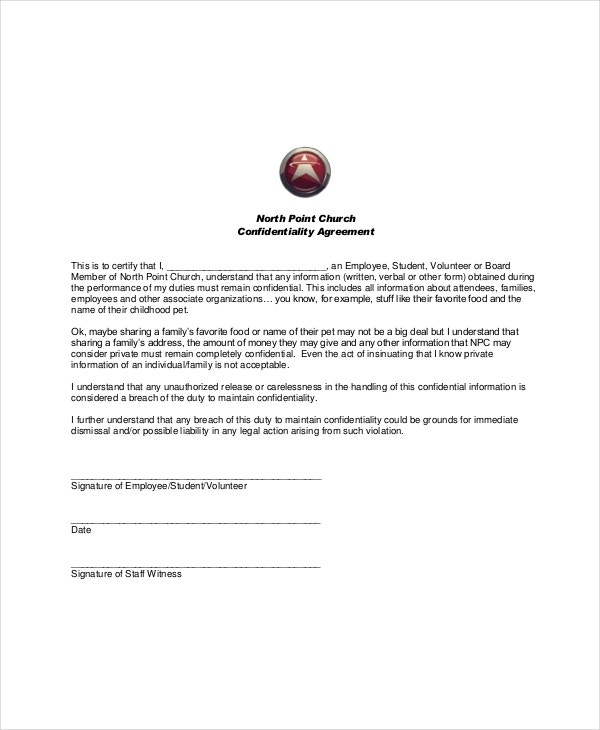 example church volunteer confidentiality agreement