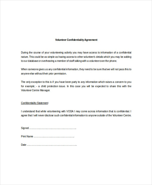 11 Volunteer Confidentiality Agreement Templates Doc Pdf Free