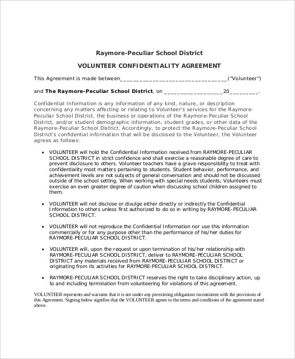 Volunteer Confidentiality Agreement Templates  Free Sample