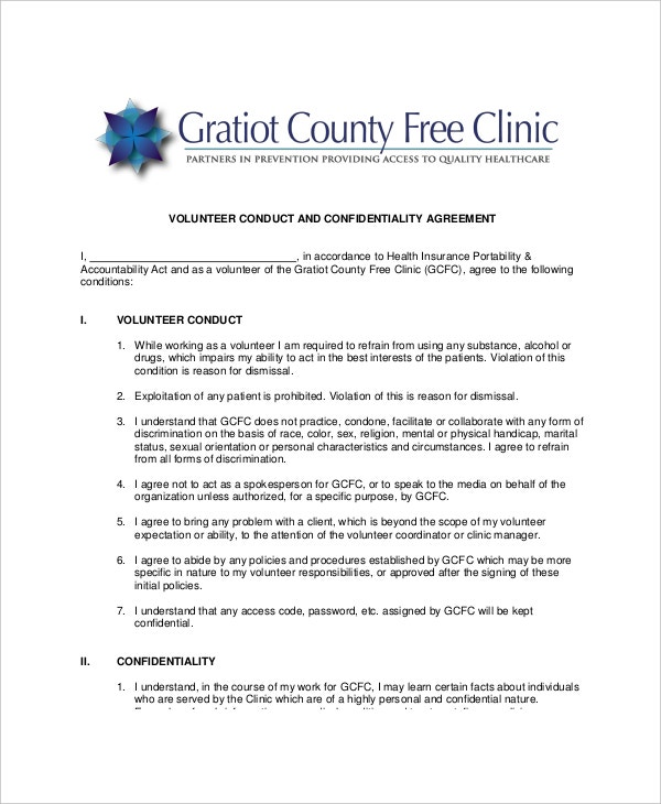 sample volunteer conduct and confidentiality agreement