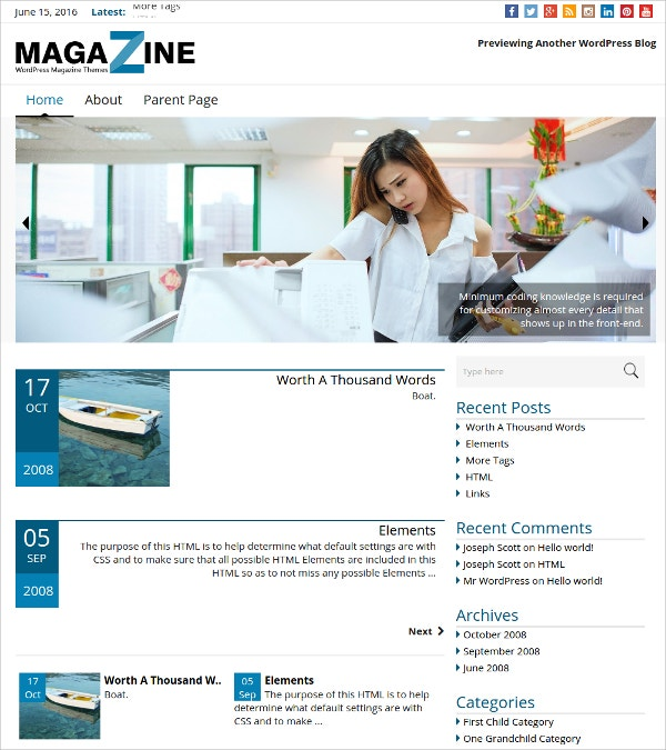 Free News & Magazine WordPress Theme