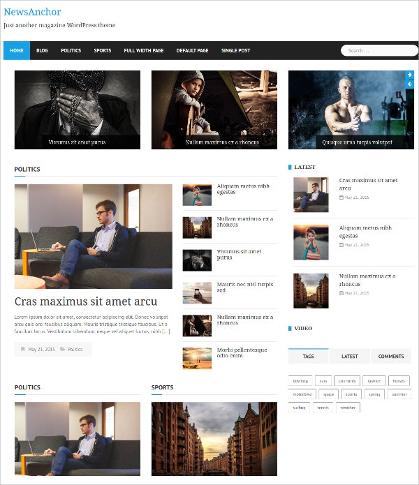 News Anchor Free Responsive WordPress Theme