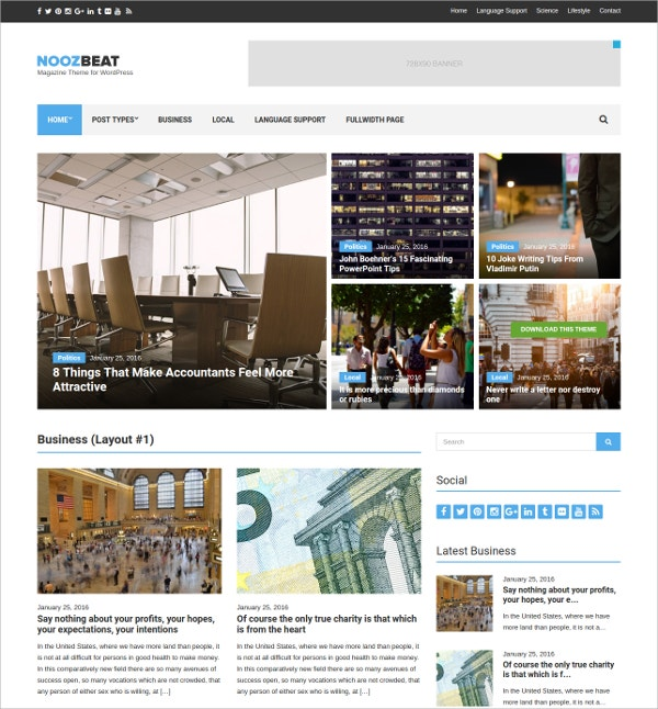 News & Magazine Free Beautiful Responsive WordPress Theme