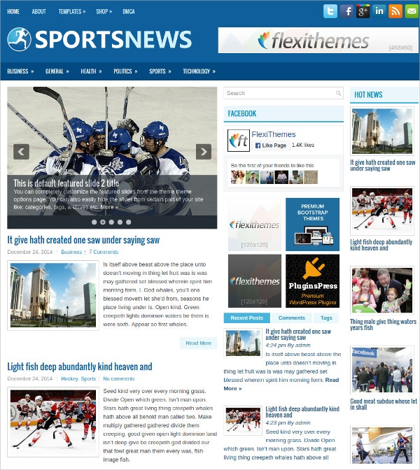 Sports News Free Responsive WordPress Theme