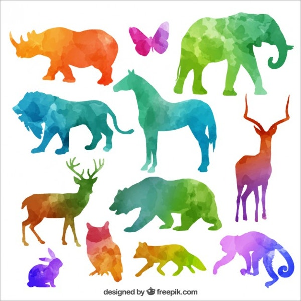 Colorful Animal Silhouettes Collection Free Vector